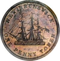 reverse of 1 Penny - Victoria (1843) coin with BR# 909 from Canadian provinces. Inscription: · NEW BRUNSWICK · ONE PENNY TOKEN