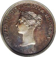 obverse of 1/2 Penny - Victoria (1843) coin with BR# 910 from Canadian provinces. Inscription: VICTORIA DEO GRATIA REGINA 1843