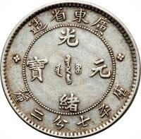 obverse of 7.2 Candareens - Guangxu (1890 - 1908) coin with Y# 200 from China. Inscription: * 造 省 東 廣 * 光 寶 元 緒 釐 二 分 七 平 库