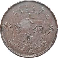 obverse of 20 Cash - Guangxu (1905 - 1907) coin with Y# 11 from China.