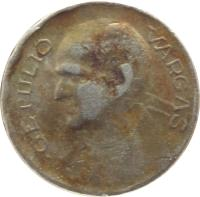 reverse of 100 Réis (1938 - 1942) coin with KM# 544 from Brazil. Inscription: GETULIO VARGAS