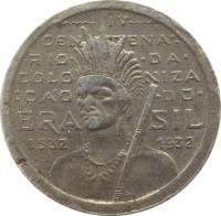 obverse of 100 Réis - 400th Anniversary of Colonization (1932) coin with KM# 527 from Brazil. Inscription: IV CENTENÁ- RIO · DA · COLONIZA ÇÃO · DO · BRAZIL 1532 1932