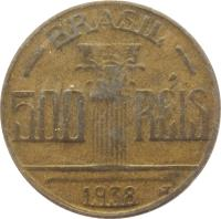 obverse of 500 Réis - Thicker (1936 - 1938) coin with KM# 540 from Brazil. Inscription: BRASIL 500 RÉIS 1938 WT