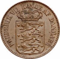 obverse of 1 Cent - Frederik VII (1859 - 1959) coin with KM# 63 from Danish West Indies. Inscription: FREDERIK VII KONGE AF DANMARK