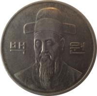 obverse of 100 Won (1983 - 2015) coin with KM# 35 from Korea. Inscription: 백 원