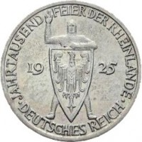 obverse of 3 Reichsmark - 1000th Year of the Rhineland (1925) coin with KM# 46 from Germany. Inscription: JAHRTAUSEND FEIER DER RHEINLANDE 19 25 DEUTSCHES REICH