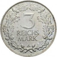 reverse of 3 Reichsmark - 1000th Year of the Rhineland (1925) coin with KM# 46 from Germany. Inscription: 3 REICHS MARK A