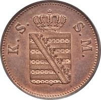 obverse of 2 Pfennige - Johann (1855 - 1859) coin with KM# 1185 from German States. Inscription: K.S. S.M.