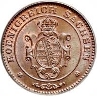 obverse of 1 Pfennig - Johann (1862 - 1873) coin with KM# 1216 from German States. Inscription: KOENIGREICH SACHSEN