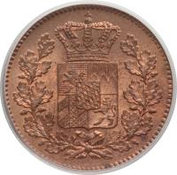 obverse of 2 Pfenning - Ludwig II (1858 - 1871) coin with KM# 857 from German States.