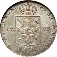 reverse of 4 Groschen - Friedrich Wilhelm III (1797 - 1809) coin with KM# 370 from German States. Inscription: PURA COLON 84 EX MARCA 17 99 4. GR. A