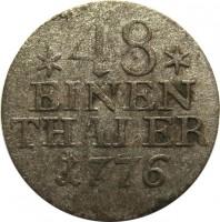 reverse of 1/48 Thaler - Friedrich II (1771 - 1781) coin with KM# 327 from German States. Inscription: *48* EINEN THALER 1776