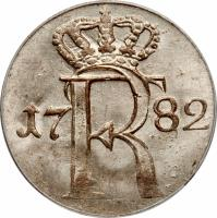 obverse of 1/24 Thaler - Friedrich II (1764 - 1786) coin with KM# 296 from German States. Inscription: 17 FR 82