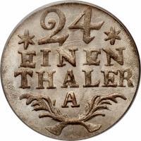 reverse of 1/24 Thaler - Friedrich II (1764 - 1786) coin with KM# 296 from German States. Inscription: 24 EINEN THALER A
