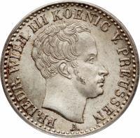 obverse of 1/6 Reichsthaler - Friedrich Wilhelm III (1822 - 1840) coin with KM# 411 from German States. Inscription: FRIEDR. WILH. III KOENIG V. PREUSSEN A