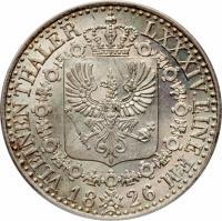 reverse of 1/6 Reichsthaler - Friedrich Wilhelm III (1822 - 1840) coin with KM# 411 from German States. Inscription: VI. EINEN THALER LXXXIV. EINE F.M. 1826