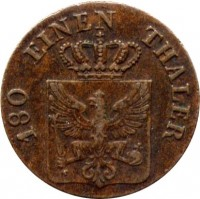 obverse of 2 Pfenninge - Friedrich Wilhelm III (1821 - 1840) coin with KM# 406 from German States. Inscription: 180 EINEN THALER