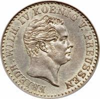 obverse of 2 1/2 Silber Groschen - Friedrich Wilhelm IV (1842 - 1852) coin with KM# 444 from German States. Inscription: FRIEDR. WILH. IV KOENIG V. PREUSSEN