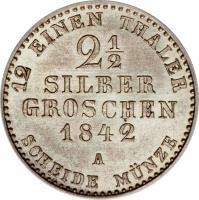 reverse of 2 1/2 Silber Groschen - Friedrich Wilhelm IV (1842 - 1852) coin with KM# 444 from German States. Inscription: 12 EINEN THALER 2½ SILBER GROSCHEN 1842 A SHEIDE MÜNZE