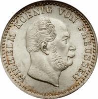 obverse of 2 1/2 Silber Groschen - Wilhelm I (1861 - 1873) coin with KM# 486 from German States. Inscription: WILHELM KOENIG VON PREUSSEN