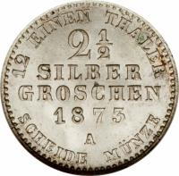 reverse of 2 1/2 Silber Groschen - Wilhelm I (1861 - 1873) coin with KM# 486 from German States. Inscription: 12 EINEN THALER 2 1/2 SILBER GROSCHEN 1873 A SCHEIDE MÜNZE