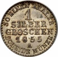 reverse of 1 Silber Groschen - Friedrich Wilhelm IV (1853 - 1860) coin with KM# 462 from German States. Inscription: 30 EINEN THALER 1 SILBER GROSCHEN 1855 A SCHEIDE MÜNZE