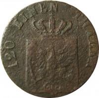 obverse of 3 Pfenninge - Friedrich Wilhelm III (1821 - 1840) coin with KM# 407 from German States. Inscription: 120 EINEN THALER