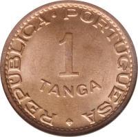reverse of 1 Tanga (1947) coin with KM# 24 from India. Inscription: REPUBLICA PORTUGUESA 1 TANGA