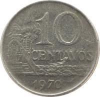 reverse of 10 Centavos (1967 - 1970) coin with KM# 578 from Brazil. Inscription: 10 CENTAVOS 1970