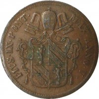 obverse of 1 Baiocco - Pius IX (1850 - 1853) coin with KM# 1345 from Italian States. Inscription: PIVS · IX · PONT · MAX · ANNO · V ·