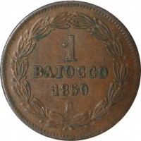 reverse of 1 Baiocco - Pius IX (1850 - 1853) coin with KM# 1345 from Italian States. Inscription: 1 BAIOCCO 1850 R
