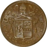 obverse of 1/2 Baiocco - Gregory XVI (1835 - 1845) coin with KM# 1319 from Italian States. Inscription: GREGORIVS · XVI PONT · MAX · A · XIV R.