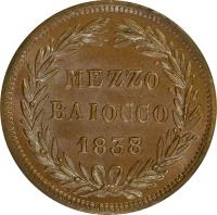 reverse of 1/2 Baiocco - Gregory XVI (1835 - 1845) coin with KM# 1319 from Italian States. Inscription: MEZZO BAIOCCO 1838/7