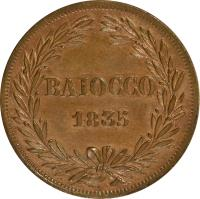 reverse of 1 Baiocco - Gregory XVI (1835 - 1845) coin with KM# 1320 from Italian States. Inscription: BAIOCCO 1835