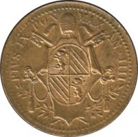 obverse of 1/2 Baiocco - Pius IX (1847 - 1850) coin with KM# 1340 from Italian States. Inscription: PIVS · IX PON MAX AN · IIII