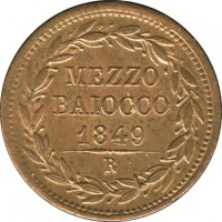 reverse of 1/2 Baiocco - Pius IX (1847 - 1850) coin with KM# 1340 from Italian States. Inscription: MEZZO BAIOCCO 1849 R