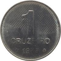 reverse of 1 Cruzeiro (1979 - 1984) coin with KM# 590 from Brazil. Inscription: 1 CRUZEIRO 1979
