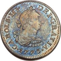obverse of 1/2 Real - Carlos III (1772 - 1789) coin with KM# 69 from Mexico. Inscription: CAROLUS · III · DEI · GRATIA · 1782 ·