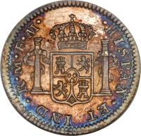 reverse of 1/2 Real - Carlos III (1772 - 1789) coin with KM# 69 from Mexico. Inscription: · HISPAN · ET IND · R · Mᴼ · F · F ·