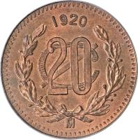 reverse of 20 Centavos (1920 - 1935) coin with KM# 437 from Mexico. Inscription: 1935 20 C