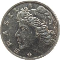 obverse of 1 Cruzeiro (1967 - 1970) coin with KM# 581 from Brazil. Inscription: * BRASIL *