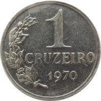 reverse of 1 Cruzeiro (1967 - 1970) coin with KM# 581 from Brazil. Inscription: 1 CRUZEIRO 1970