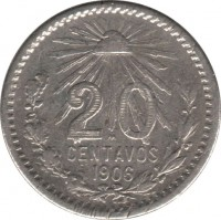 reverse of 20 Centavos (1905 - 1914) coin with KM# 435 from Mexico. Inscription: 20 CENTAVOS 1906