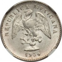 obverse of 5 Centavos (1898 - 1905) coin with KM# 400 from Mexico. Inscription: REPUBLICA MEXICANA 1904