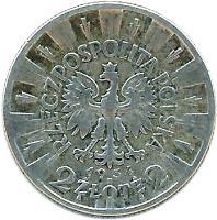 obverse of 2 Złote (1934 - 1936) coin with Y# 27 from Poland. Inscription: RZECZPOSPOLITA POLSKA 1934 2 ZŁOTE 2