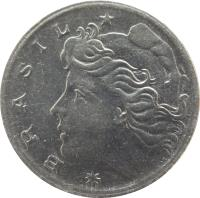 obverse of 5 Centavos (1967 - 1975) coin with KM# 577 from Brazil. Inscription: BRASIL