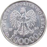 obverse of 100000 Złotych - 10th Anniversary of