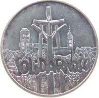 reverse of 100000 Złotych - 10th Anniversary of