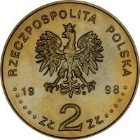 obverse of 2 Złote - Olympic Games Nagano 1998 (1998) coin with Y# 335 from Poland. Inscription: RZECZPOSPOLITA POLSKA 1998 · · · · · · ZŁ 2 ZŁ · · · · · ·