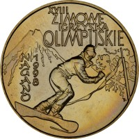 reverse of 2 Złote - Olympic Games Nagano 1998 (1998) coin with Y# 335 from Poland. Inscription: XVIII ZIMOWE IGRYSKA OLIMPIJSKIE NAGANO 1998